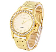 Women's Watch Fashionable Diamond Dial Golden Alloy Band