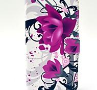 Фиолетовый Цветы Pattern Кожа PU Жесткий чехол с подставкой и Гнезда для платы для HTC Desire 310