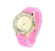 CowayMK Women's Round Diamond Dial Pink Silicone Band Quartz Analog Wrist Watch