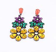 Yellow Rhinestone Flower Drop Earrings (1 Pair)