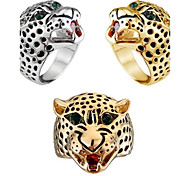 Ms Domineering Fashion Temperament Leopard Print Head Zircon Ring
