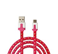 Qianjiatian® Samsung Mi HTC Android Mobile Phone Data Cable Micro Color Braided Flat Cable 1M