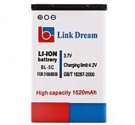 Lien Dream High Quality 3.7V 1520 mAh Batterie de téléphone portable pour Nokia 2310 3100 6030 6230 3120 (BL-5C)