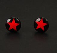Estrela de Prata liga Brincos doce vermelha de cinco pontas (1 par)