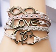 Eruner®Leather Bracelet Multilayer Alloy Love and Heart Infinite Handmade Bracelet