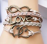 Leather Bracelet Multilayer Alloy Love and Heart Infinite Handmade Bracelet