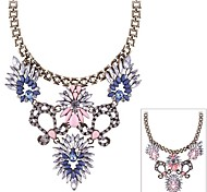 (1 Pc)Vintage (Colored Crystal Stones) Gold Alloy Statement Necklace