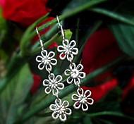 Vintage (Flower) lega d'argento orecchini di goccia (Silver) (1 coppia)