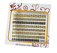Or et noir Nail Art Stickers 3D mixte métal Nails Décoration