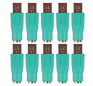 feminino ps2 para adaptadores de conversores USB Macho - verde (10 unid)