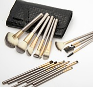 Professional 18 Pcs  High Quality Makeup Brush Set Cosmetic Make Up Tools with  Shine Luxury Leather Bag