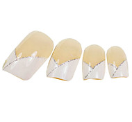 24PCS V-neck Design Natural Nail Art French Tips With Glue