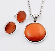 Fashion Colorful  Acrylic Titanium Steel Necklaces and Earrings Gemstone Jewelry Sets