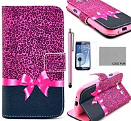 COCO FUN® Purple Leopard Pattern PU Leather Case with Screen Protector, Stylus and Stand for Samsung Galaxy S3 I9300