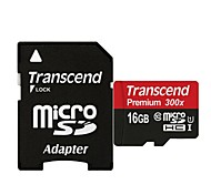 Transcend TF300X UHS-I Micro SDHC / TF Memory Card w/ SD Adapter (16GB / Class 10)