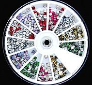 200pcs colori della miscela 3 millimetri quadrati e di forma rotonda decorazione di arte del chiodo ruota borchie fluorescenti rviets