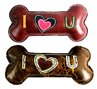 """I LOVE U"" Bone Shape Genuine Leather Doggie Chewing Toy  for Pets Dogs(Assorted Colors)"