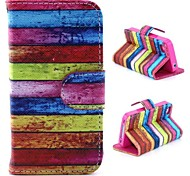Chromatic Stripe Pattern PU Leather Full Body Case with Stand and Card Slot and Money Holder for iPhone 4/4S