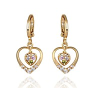 Women's New Gold Plated Hot Selling Fashion Hollw Heart Shape MulticolorZircon Earrings