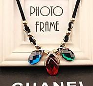Lureme®Flash Crystals Gemstone Pendant Necklace