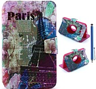 Eiffel Tower Graffiti Pattern PU Leather Full Body Case+Stylus Pen for Samsung Galaxy Tab 3 Lite T110/T111