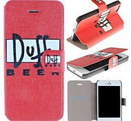 Doff BeeR Pattern Clamshell PU Leather Full Body Case with Card Slot for iPhone 5/5S