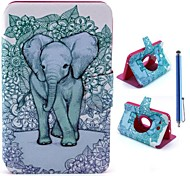 Elephant Pattern PU Leather Full Body Case+Stylus Pen for Samsung Galaxy Tab 3 Lite T110/T111