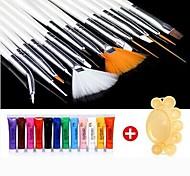 28PCS peinture acrylique Nail Art Suit (12 couleurs nail art Peintures 15 PCS Nail Art Brush 1 palette couleur aléatoire)