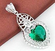 Trendy Heart Green Quartz Gemstone Silver Pendant  1pc