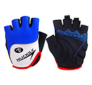 NUCKILY Unisex Breathable Seismic Blue Summer Half Finger Cycling Gloves