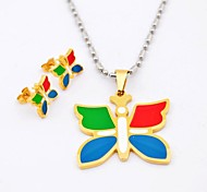 Fashion Multicolor Butterfly Titanium Steel Necklaces and Earrings Jewelry Sets