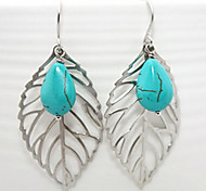 Shixin® Fashion Blue Resin Leaf Shape Drop Earrings(1 Pair)
