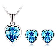 OuXi Women's Heartbeat Necklace Earrings Set Made with Fashion Elements(Blue)
