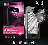 diamante protector de pantalla anti-radiación para iphone4/4s (3 piezas)