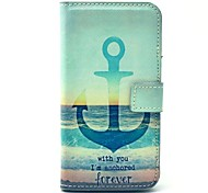 verankern Meer immer Muster PU-Leder Ganzkörper-Fall mit Kartensteckplatz für Samsung Galaxy i9600 s5