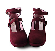 Handmade Wine Red Suede 4.5cm High Heel Gothic Lolita Shoes