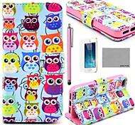 COCO ® FUN bonito colorido Coruja Padrão PU Leather Case Full Body com Filme, Stand e Stylus para iPhone 5/5S
