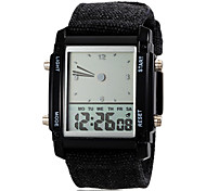 Men's Digital Colorful LED Light Casual Fabric Band Quartz Wrist Watch (Assorted Colors)