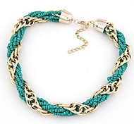 Metal Chain Beads Short Necklace