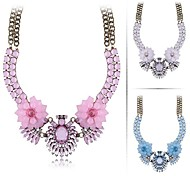 (1 Pc)Vintage (Crystal Gem Bimetallic) Bronze Alloy Statement Necklace