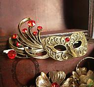 Vintage 57*32mm Bronze Red Gem Mask Shape Brooch(1 Pc)