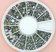 1200PCS Mixed Size 3D Round Sliver Alloy Studs Wheel Nail Art Decoration