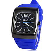 Men's Square Black Case Rubber Band Quartz Wrist Watch (Assorted Colors)  Cool Watch Unique Watch