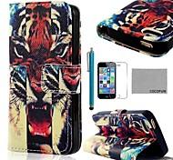 COCO ® FUN Fierce Tiger Pattern PU Leather Case Full Body com Filme, Stand e Stylus para iPhone 5/5S