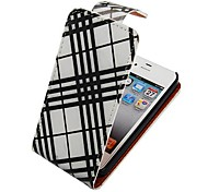 Black and White Line Up-down Turn Over Full Body Case for iPhone 4/4S