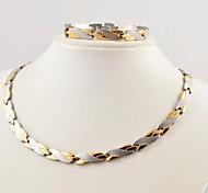 Fashion Men's Shake Shape  Health Magnet Titanium Steel Necklaces and Bracelets Jewelry Sets