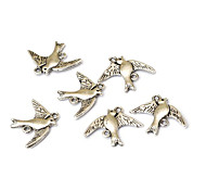 Vintage Handmade Double Pigeon Silver Alloy Accessoris (10Pcs)