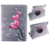 Red Peach Heart Pattern 360 Degree Rotating PU Leather Case with Stand for iPad Air