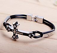 Fashion Religion Style Double Cross Pipe Black Alloy Tennis Bracelet(1 Pc)