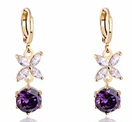 Women's  New Fashion 18K Gold Plated Flower Fill White And Lined Round Zircon Earring ER0458